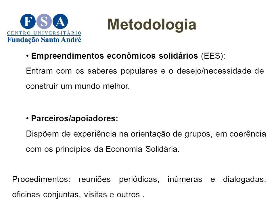 Parceiros/apoiadores: Dispõem de experiência na orientação de grupos, em coerência com os princípios da Economia Solidária. Procedimentos: reuniões pe