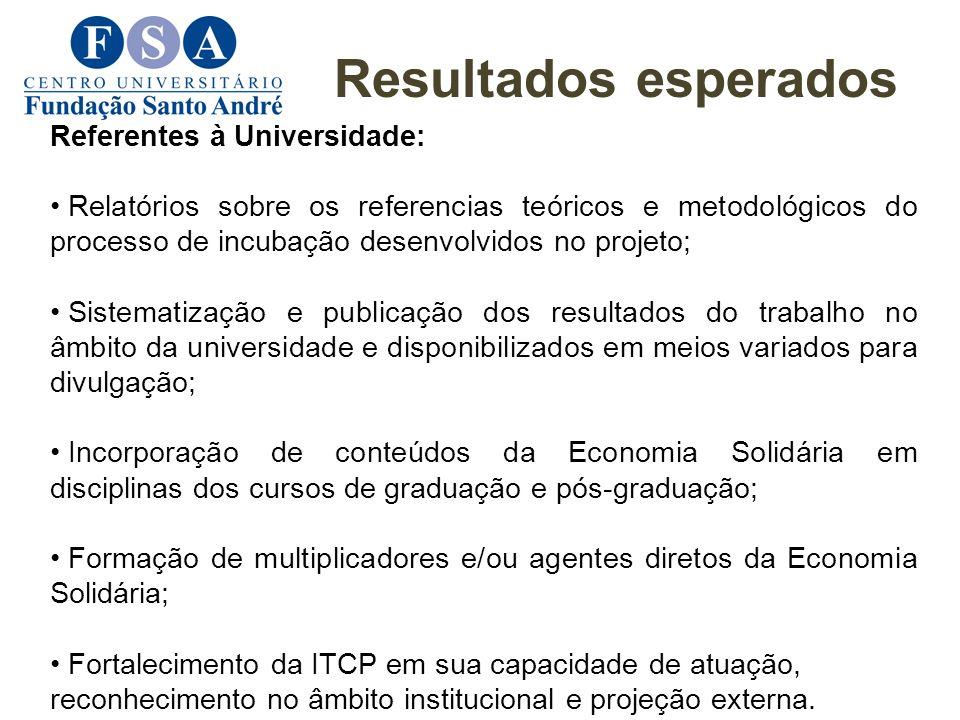 Resultados esperados Referentes à Universidade: Relatórios sobre os referencias teóricos e metodológicos do processo de incubação desenvolvidos no pro