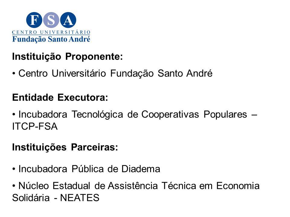 Instituição Proponente: Centro Universitário Fundação Santo André Entidade Executora: Incubadora Tecnológica de Cooperativas Populares – ITCP-FSA Inst
