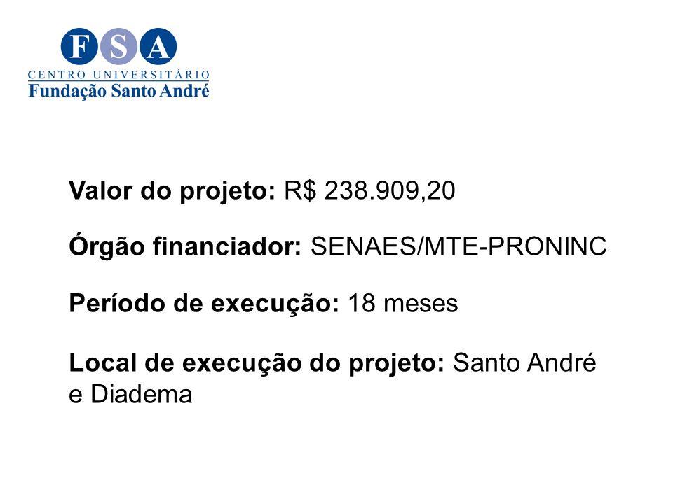 Valor do projeto: R$ 238.909,20 Órgão financiador: SENAES/MTE-PRONINC Período de execução: 18 meses Local de execução do projeto: Santo André e Diadem