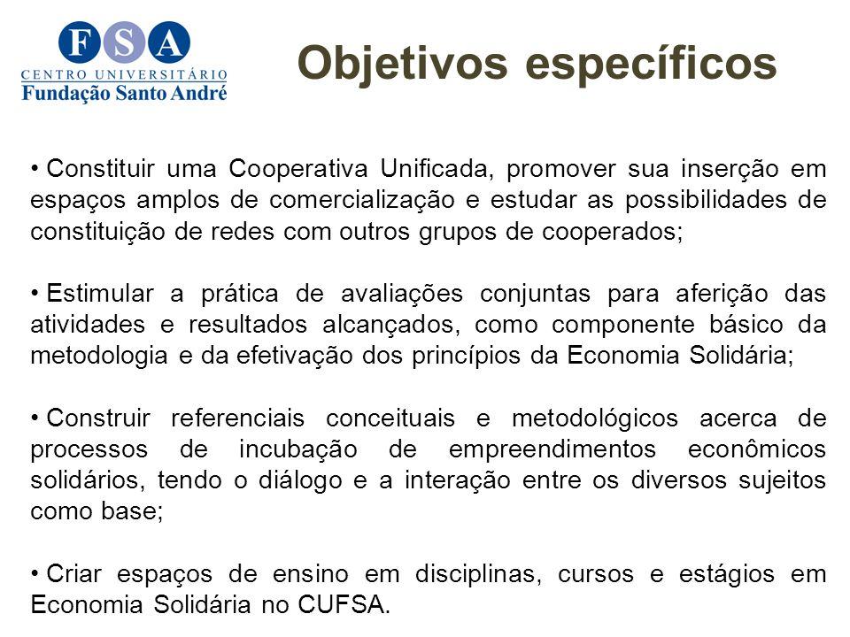 Constituir uma Cooperativa Unificada, promover sua inserção em espaços amplos de comercialização e estudar as possibilidades de constituição de redes