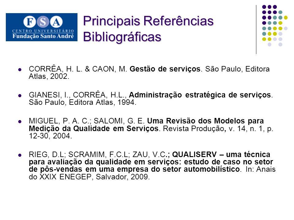 Principais Referências Bibliográficas CORRÊA, H.L.