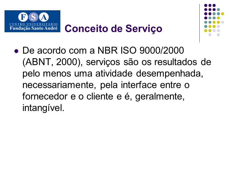 Conceito de Serviço De acordo com a NBR ISO 9000/2000 (ABNT, 2000), serviços são os resultados de pelo menos uma atividade desempenhada, necessariamente, pela interface entre o fornecedor e o cliente e é, geralmente, intangível.