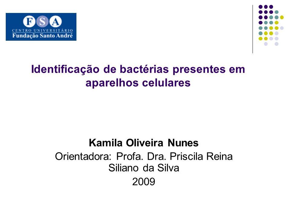 Identificação de bactérias presentes em aparelhos celulares Kamila Oliveira Nunes Orientadora: Profa. Dra. Priscila Reina Siliano da Silva 2009