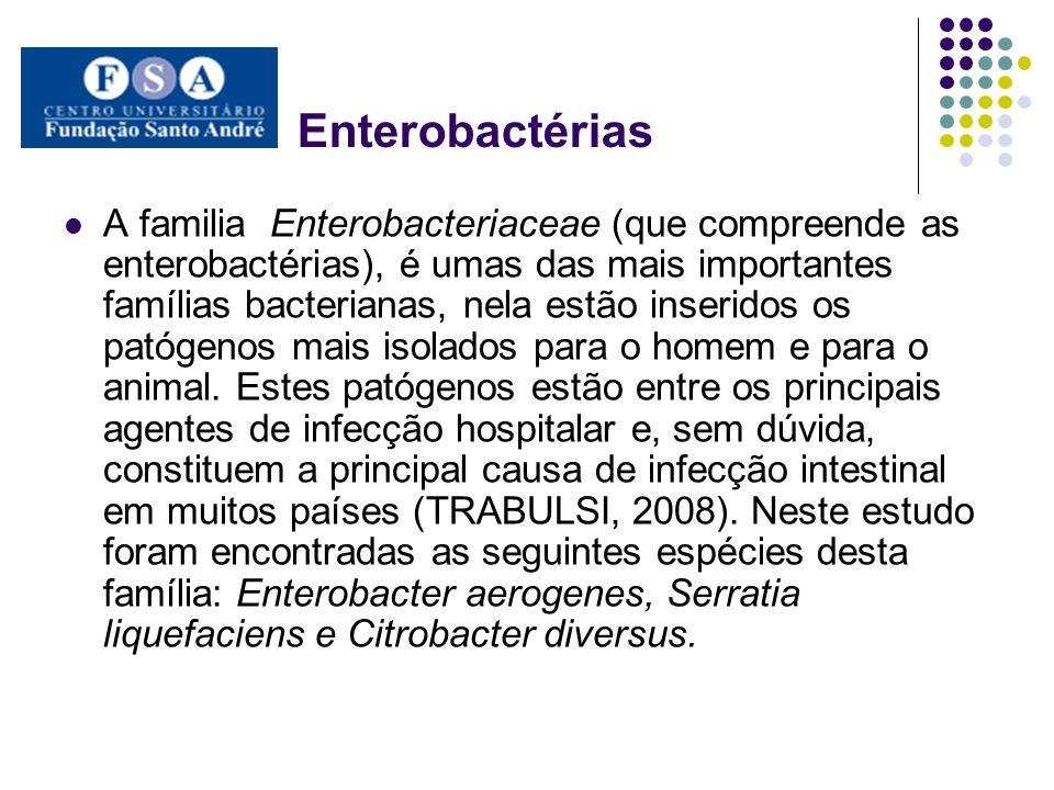 Enterobactérias A familia Enterobacteriaceae (que compreende as enterobactérias), é umas das mais importantes famílias bacterianas, nela estão inserid
