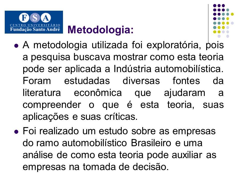 Metodologia: A metodologia utilizada foi exploratória, pois a pesquisa buscava mostrar como esta teoria pode ser aplicada a Indústria automobilística.