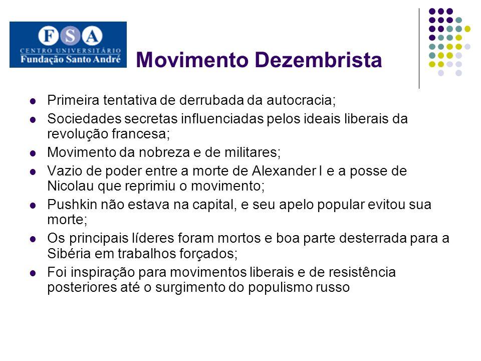 Movimento Dezembrista Primeira tentativa de derrubada da autocracia; Sociedades secretas influenciadas pelos ideais liberais da revolução francesa; Mo