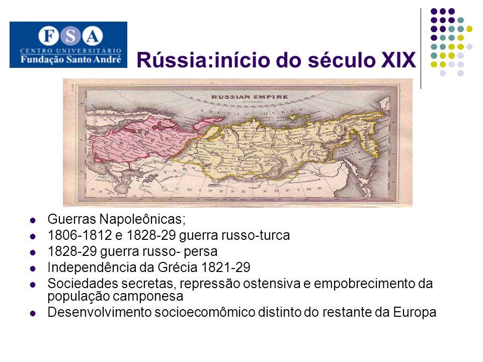 Rússia:início do século XIX Guerras Napoleônicas; 1806-1812 e 1828-29 guerra russo-turca 1828-29 guerra russo- persa Independência da Grécia 1821-29 S
