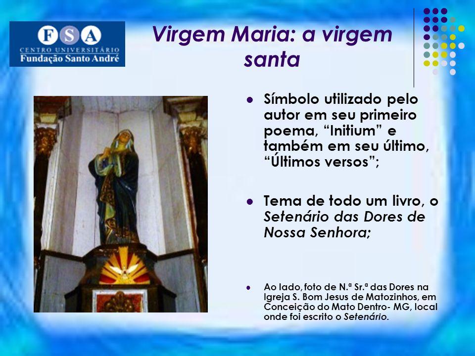 Virgem Maria: a virgem santa Símbolo utilizado pelo autor em seu primeiro poema, Initium e também em seu último, Últimos versos; Tema de todo um livro