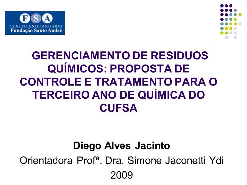 GERENCIAMENTO DE RESIDUOS QUÍMICOS: PROPOSTA DE CONTROLE E TRATAMENTO PARA O TERCEIRO ANO DE QUÍMICA DO CUFSA Diego Alves Jacinto Orientadora Profª. D