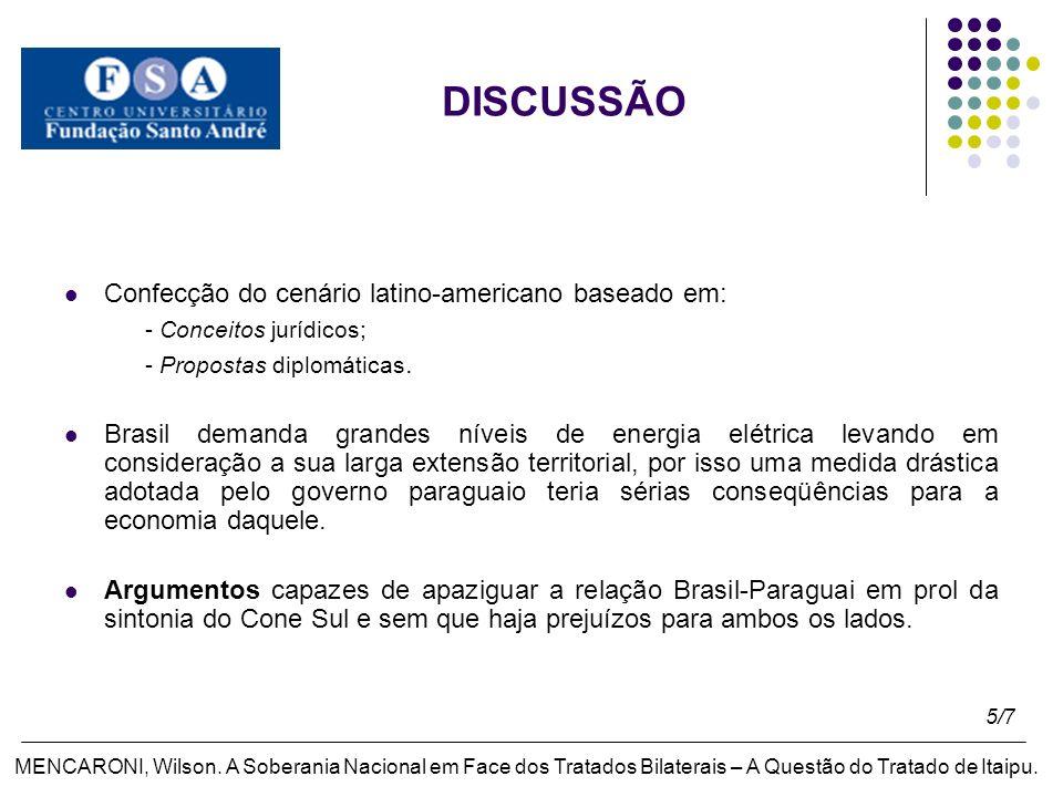 DISCUSSÃO Confecção do cenário latino-americano baseado em: - Conceitos jurídicos; - Propostas diplomáticas.