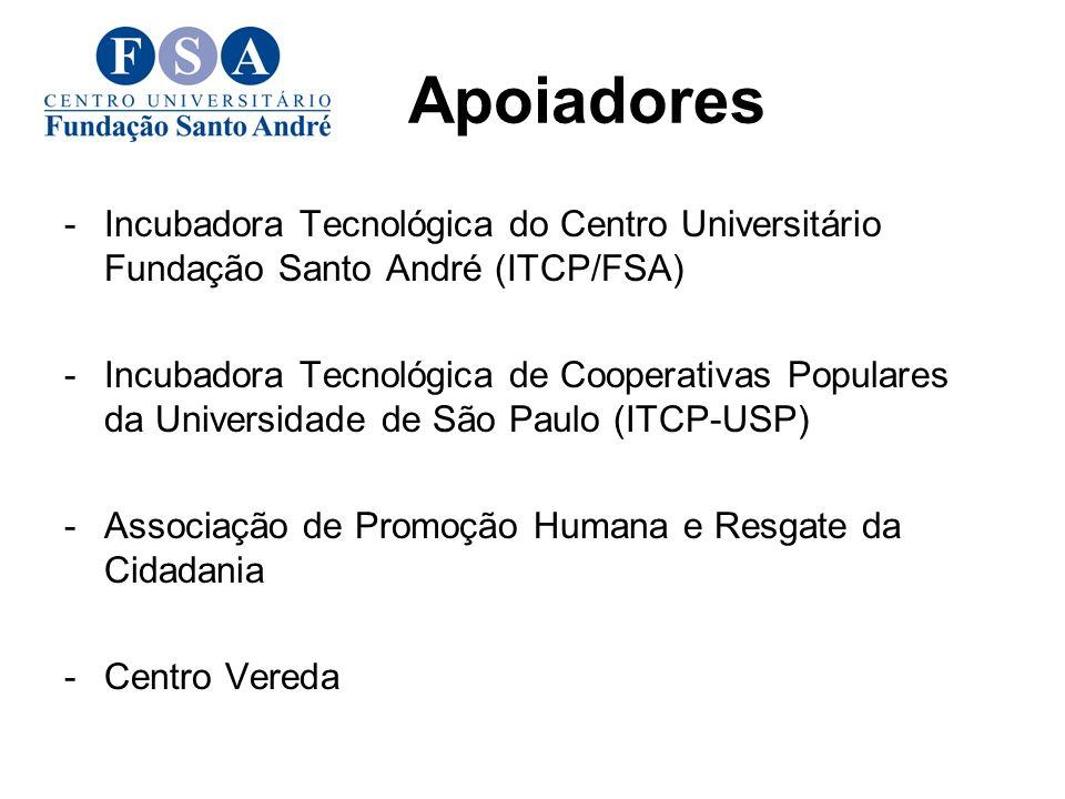 Apoiadores -Incubadora Tecnológica do Centro Universitário Fundação Santo André (ITCP/FSA) -Incubadora Tecnológica de Cooperativas Populares da Universidade de São Paulo (ITCP-USP) -Associação de Promoção Humana e Resgate da Cidadania -Centro Vereda