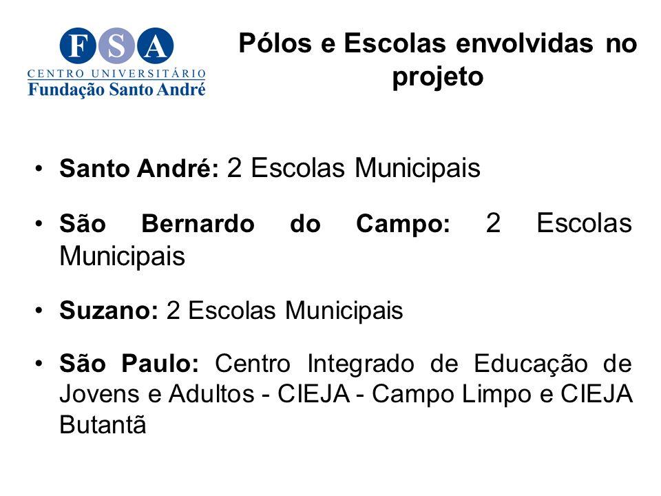Santo André: 2 Escolas Municipais São Bernardo do Campo: 2 Escolas Municipais Suzano: 2 Escolas Municipais São Paulo: Centro Integrado de Educação de Jovens e Adultos - CIEJA - Campo Limpo e CIEJA Butantã Pólos e Escolas envolvidas no projeto