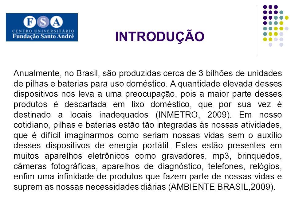 Anualmente, no Brasil, são produzidas cerca de 3 bilhões de unidades de pilhas e baterias para uso doméstico. A quantidade elevada desses dispositivos