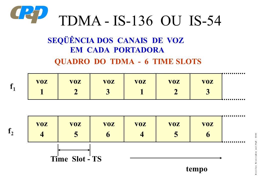 D i r e i t o s R e s e r v a d o s a o C P q D - 1 9 9 9 DA MESMA FORMA QUE O AMPS, O TDMA IS-136 POSSUI DOIS TIPOS DE CANAIS DE INFORMAÇÃO: - CANAL
