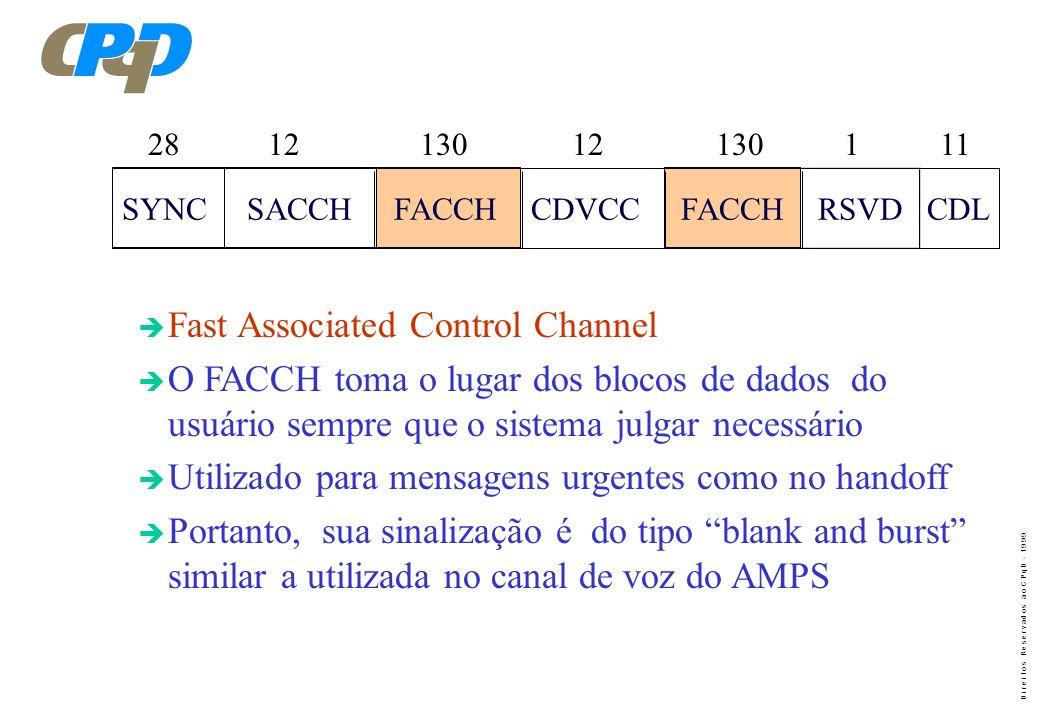 D i r e i t o s R e s e r v a d o s a o C P q D - 1 9 9 9 è DATA - Dados do usuário (voz) : Transmite 260 bits em cada surto, ou seja, 520 bits em cad
