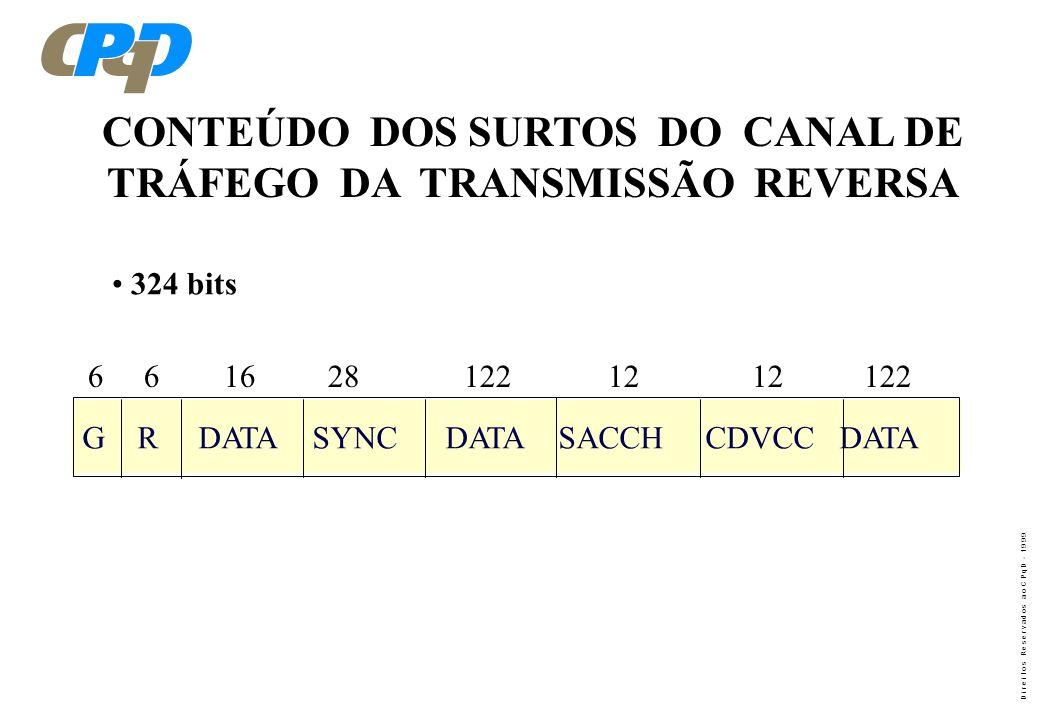 D i r e i t o s R e s e r v a d o s a o C P q D - 1 9 9 9 FUNÇÕES DOS CAMPOS QUE COMPÕEM OS SURTOS DA TRANSMISSÃO REVERSA