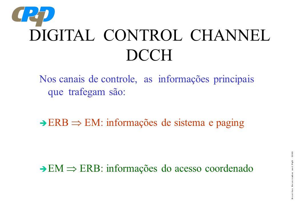D i r e i t o s R e s e r v a d o s a o C P q D - 1 9 9 9 IS - 136 CANAL DE CONTROLE ( Digital Control Channel - DCCH )