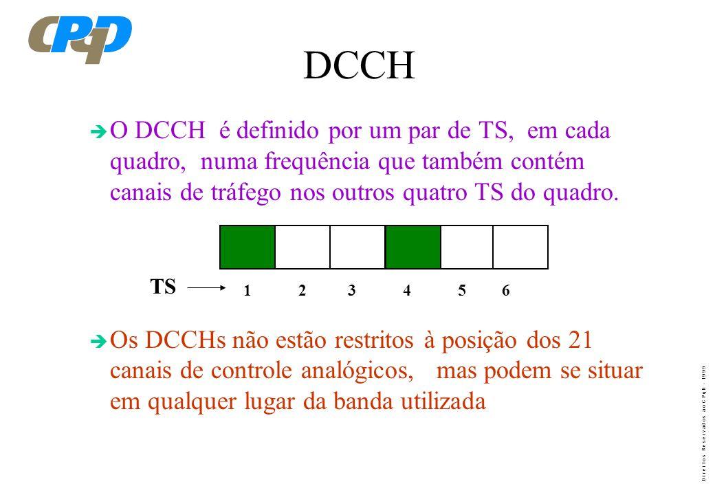 D i r e i t o s R e s e r v a d o s a o C P q D - 1 9 9 9 DIGITAL CONTROL CHANNEL DCCH Nos canais de controle, as informações principais que trafegam