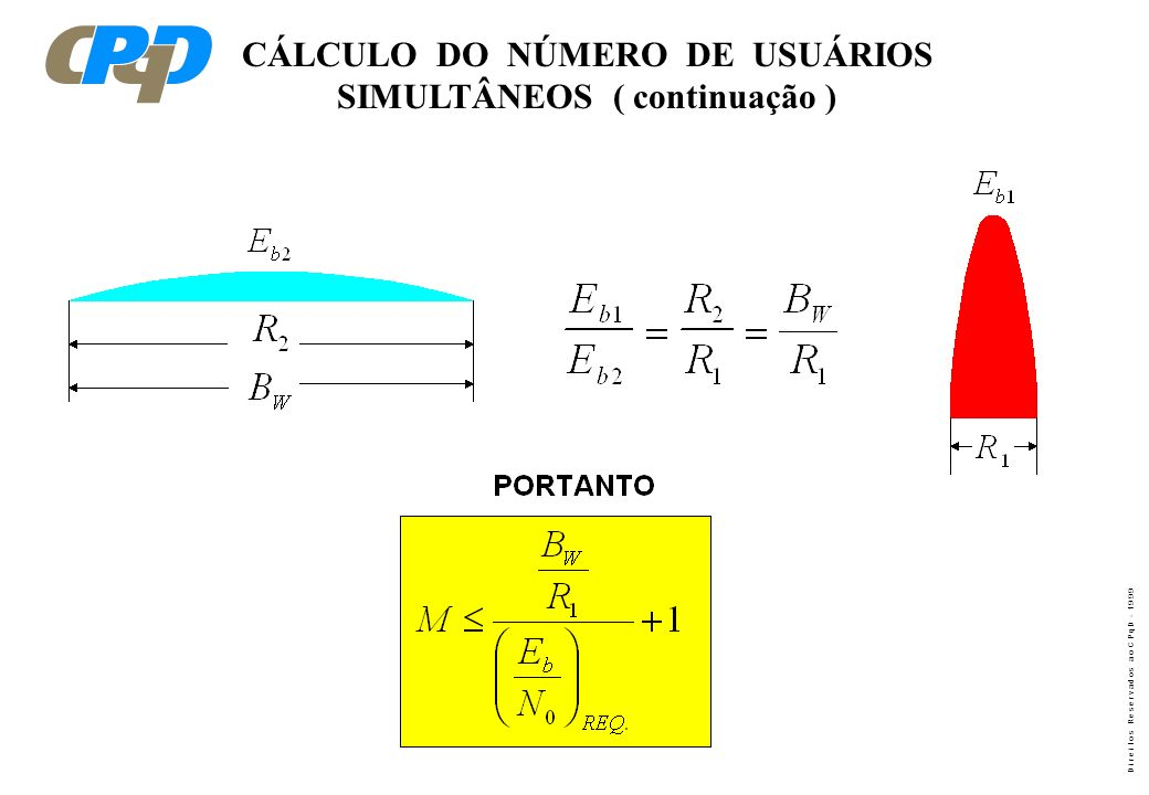 D i r e i t o s R e s e r v a d o s a o C P q D - 1 9 9 9 CÁLCULO DO NÚMERO DE USUÁRIOS SIMULTÂNEOS