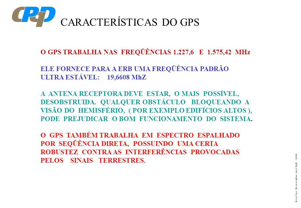 D i r e i t o s R e s e r v a d o s a o C P q D - 1 9 9 9 GPS - GLOBAL POSITIONING SYSTEM. SISTEMA NAVISTAR É UMA CONSTELAÇÃO DE 24 SATÉLITES DE ÓRBIT
