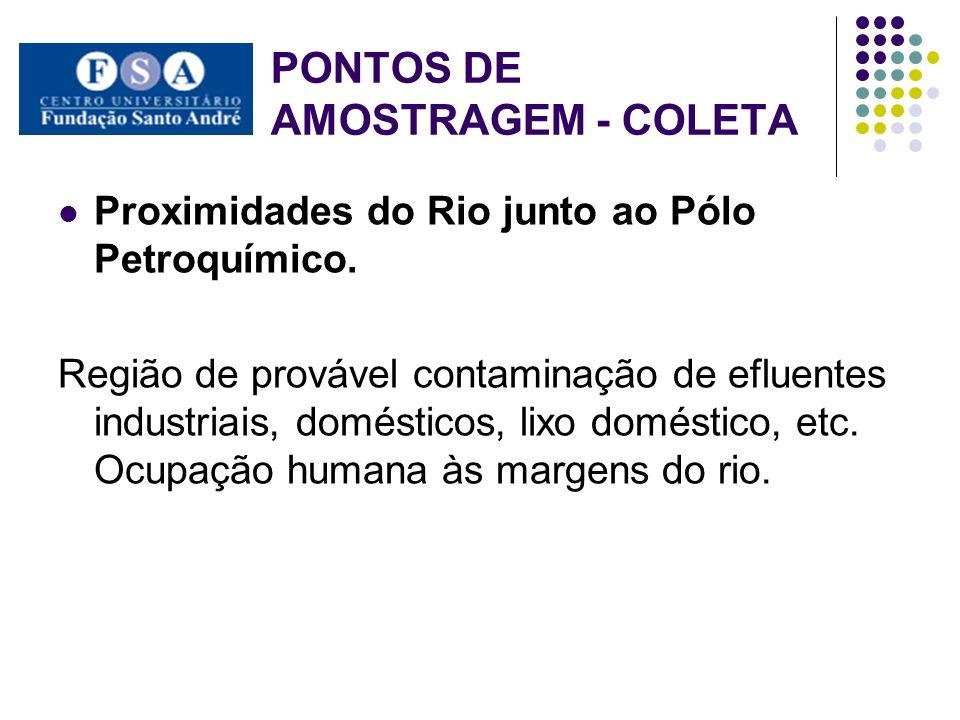 PONTOS DE AMOSTRAGEM - COLETA Proximidades do Rio junto ao Pólo Petroquímico. Região de provável contaminação de efluentes industriais, domésticos, li