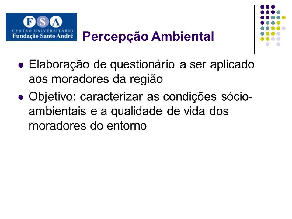 Percepção Ambiental Elaboração de questionário a ser aplicado aos moradores da região Objetivo: caracterizar as condições sócio- ambientais e a qualid