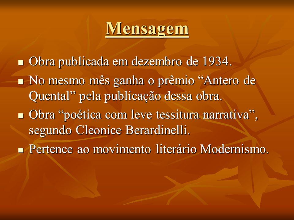 Mensagem Obra publicada em dezembro de 1934. Obra publicada em dezembro de 1934. No mesmo mês ganha o prêmio Antero de Quental pela publicação dessa o