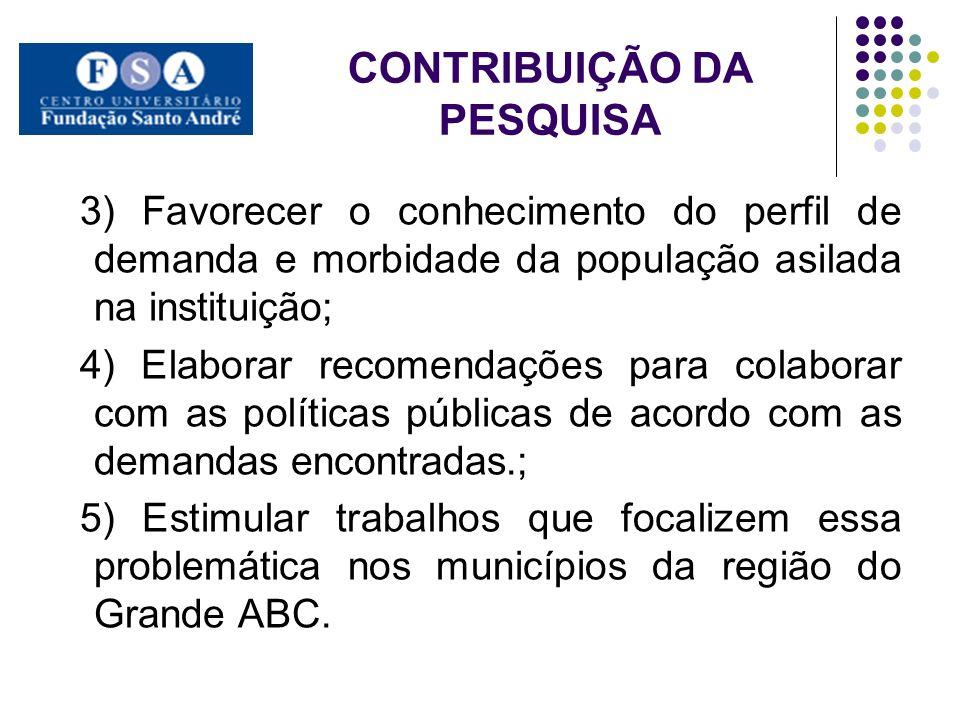 CONTRIBUIÇÃO DA PESQUISA 3) Favorecer o conhecimento do perfil de demanda e morbidade da população asilada na instituição; 4) Elaborar recomendações p