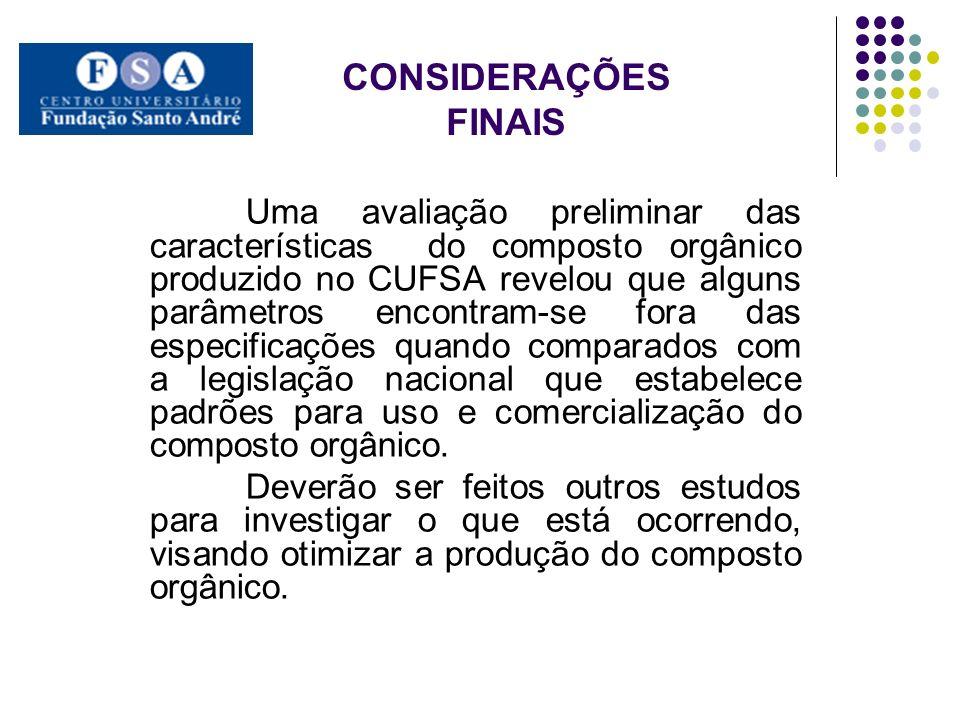 CONSIDERAÇÕES FINAIS Uma avaliação preliminar das características do composto orgânico produzido no CUFSA revelou que alguns parâmetros encontram-se f