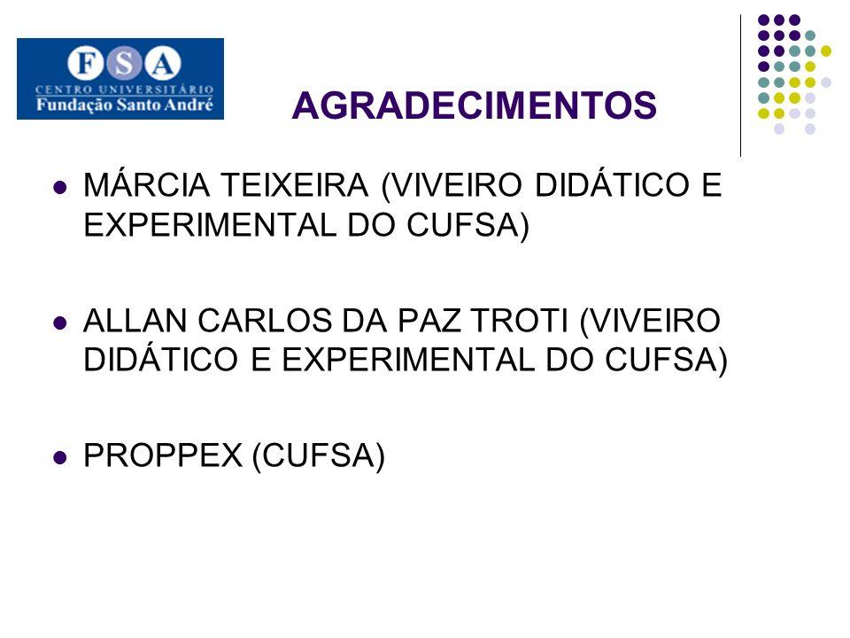 AGRADECIMENTOS MÁRCIA TEIXEIRA (VIVEIRO DIDÁTICO E EXPERIMENTAL DO CUFSA) ALLAN CARLOS DA PAZ TROTI (VIVEIRO DIDÁTICO E EXPERIMENTAL DO CUFSA) PROPPEX