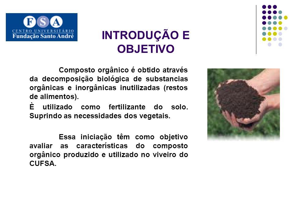 INTRODUÇÃO E OBJETIVO Composto orgânico é obtido através da decomposição biológica de substancias orgânicas e inorgânicas inutilizadas (restos de alim