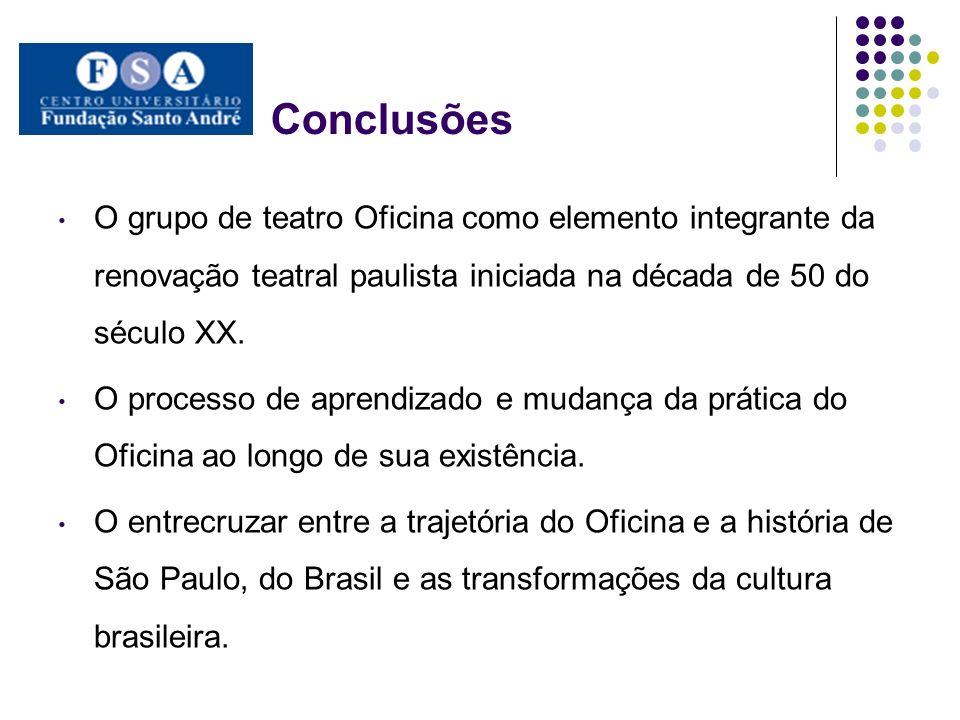 Conclusões O grupo de teatro Oficina como elemento integrante da renovação teatral paulista iniciada na década de 50 do século XX. O processo de apren