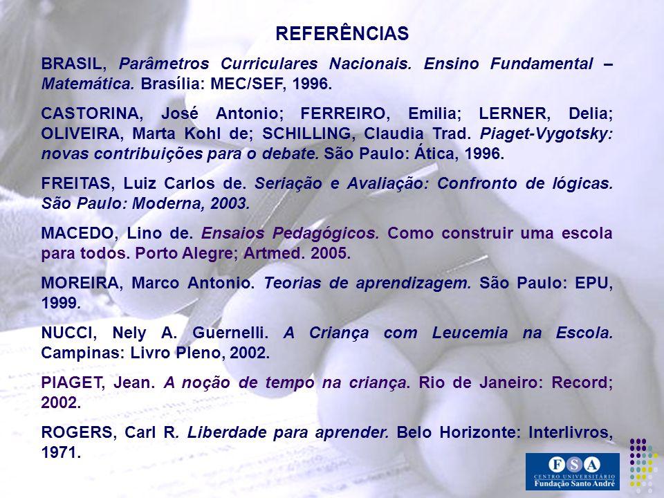 REFERÊNCIAS BRASIL, Parâmetros Curriculares Nacionais. Ensino Fundamental – Matemática. Brasília: MEC/SEF, 1996. CASTORINA, José Antonio; FERREIRO, Em