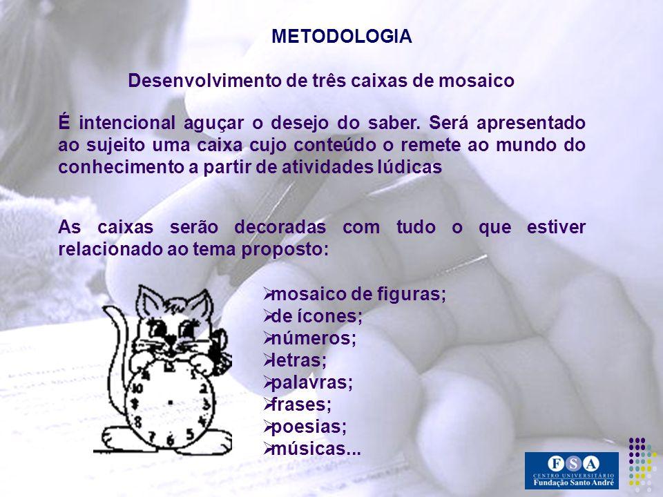 METODOLOGIA Desenvolvimento de três caixas de mosaico É intencional aguçar o desejo do saber. Será apresentado ao sujeito uma caixa cujo conteúdo o re