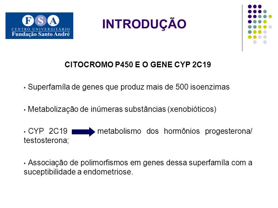 INTRODUÇÃO CITOCROMO P450 E O GENE CYP 2C19 Superfamíla de genes que produz mais de 500 isoenzimas Metabolização de inúmeras substâncias (xenobióticos