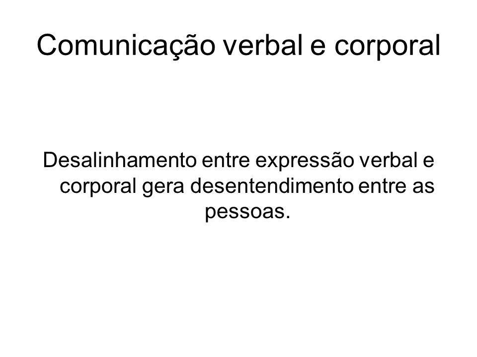 Comunicação verbal e corporal Desalinhamento entre expressão verbal e corporal gera desentendimento entre as pessoas.