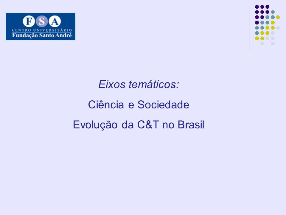 Eixos temáticos: Ciência e Sociedade Evolução da C&T no Brasil
