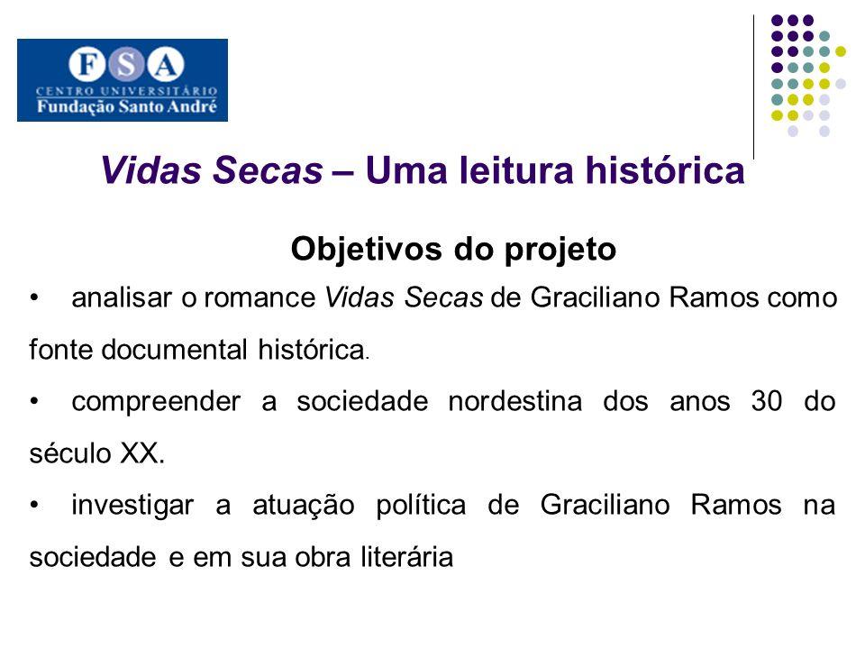Vidas Secas – Uma leitura histórica Objetivos do projeto analisar o romance Vidas Secas de Graciliano Ramos como fonte documental histórica. compreend