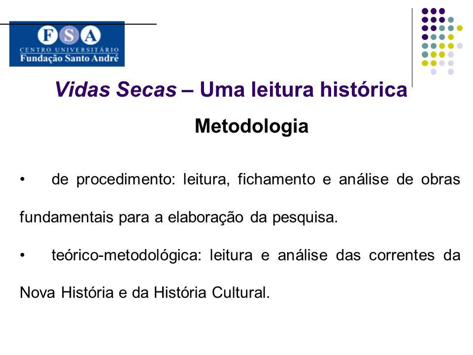Vidas Secas – Uma leitura histórica Metodologia de procedimento: leitura, fichamento e análise de obras fundamentais para a elaboração da pesquisa. te