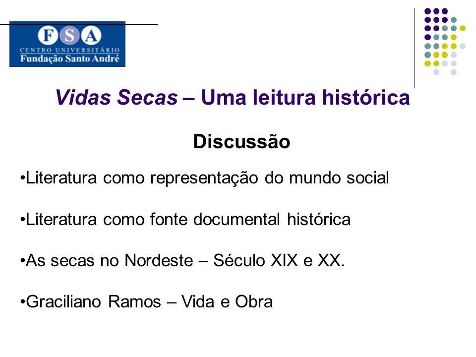 Vidas Secas – Uma leitura histórica Discussão Literatura como representação do mundo social Literatura como fonte documental histórica As secas no Nor