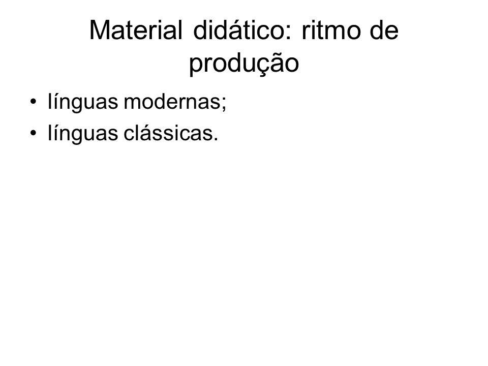Material didático: ritmo de produção línguas modernas; línguas clássicas.