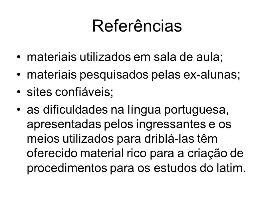 Referências materiais utilizados em sala de aula; materiais pesquisados pelas ex-alunas; sites confiáveis; as dificuldades na língua portuguesa, apres