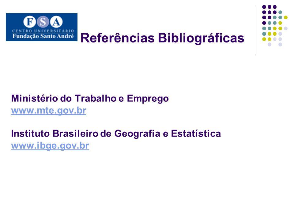 Referências Bibliográficas Ministério do Trabalho e Emprego www.mte.gov.br Instituto Brasileiro de Geografia e Estatística www.ibge.gov.br www.mte.gov