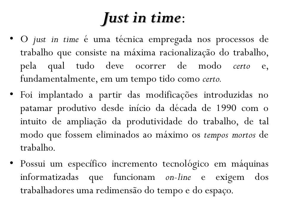 Just in time Just in time: O just in time é uma técnica empregada nos processos de trabalho que consiste na máxima racionalização do trabalho, pela qu