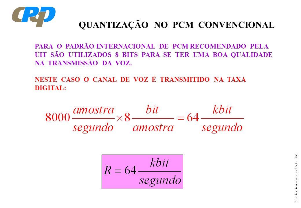 D i r e i t o s R e s e r v a d o s a o C P q D - 1 9 9 9 QUANTIZAÇÃO NO PCM CONVENCIONAL PARA O PADRÃO INTERNACIONAL DE PCM RECOMENDADO PELA UIT SÃO