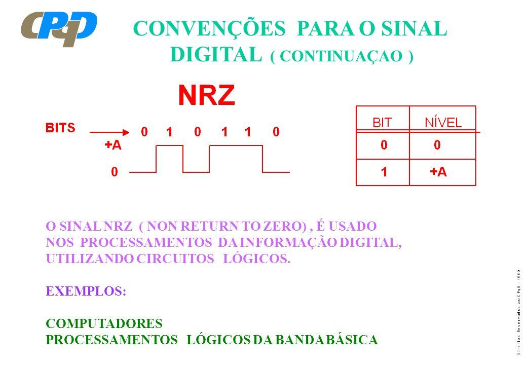 D i r e i t o s R e s e r v a d o s a o C P q D - 1 9 9 9 CONVENÇÕES PARA O SINAL DIGITAL ( CONTINUAÇAO ) O SINAL NRZ ( NON RETURN TO ZERO), É USADO N