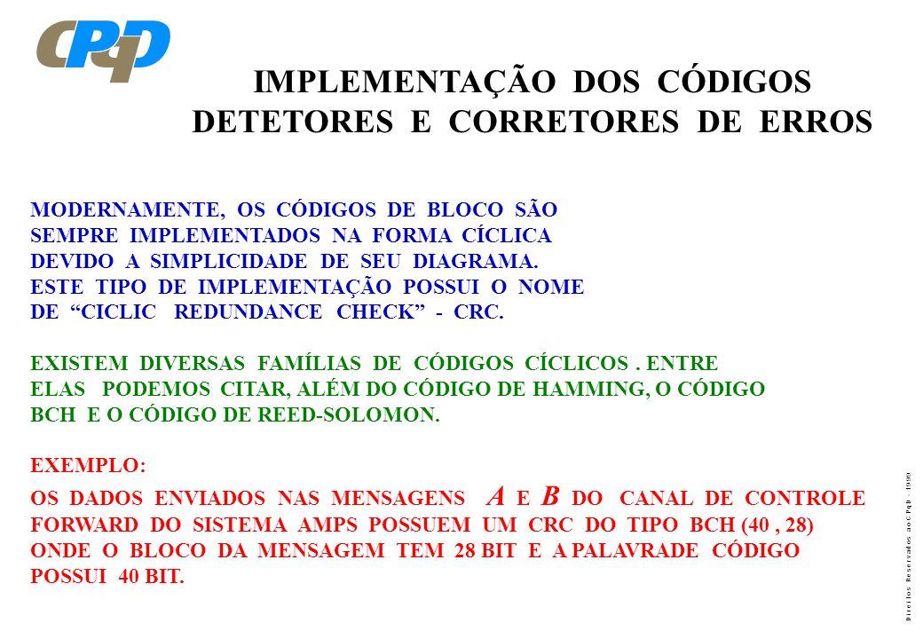 D i r e i t o s R e s e r v a d o s a o C P q D - 1 9 9 9 IMPLEMENTAÇÃO DOS CÓDIGOS DETETORES E CORRETORES DE ERROS MODERNAMENTE, OS CÓDIGOS DE BLOCO