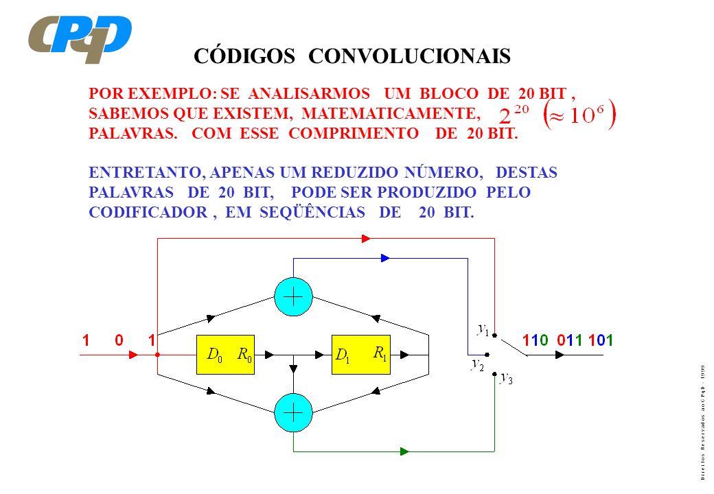 D i r e i t o s R e s e r v a d o s a o C P q D - 1 9 9 9 CÓDIGOS CONVOLUCIONAIS POR EXEMPLO: SE ANALISARMOS UM BLOCO DE 20 BIT, SABEMOS QUE EXISTEM,