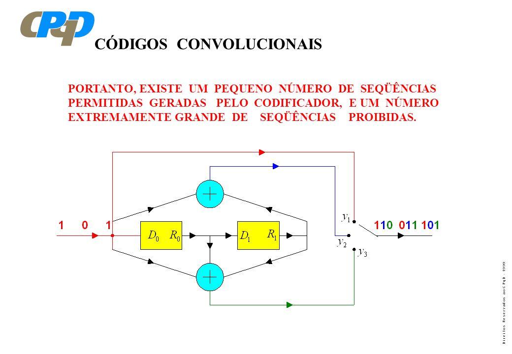 D i r e i t o s R e s e r v a d o s a o C P q D - 1 9 9 9 CÓDIGOS CONVOLUCIONAIS PORTANTO, EXISTE UM PEQUENO NÚMERO DE SEQÜÊNCIAS PERMITIDAS GERADAS P